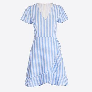 J.Crew factory stripes faux wrap dress